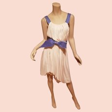 Couture Nina Ricci France silk Grecian goddess dress cream Lilac bow cross over back high low