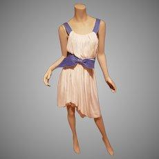 Couture Nina Ricci France silk Grecian goddess dress cream Lilac bow cross over back high low