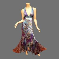 Cache' silk Mermaid Maxi gown paisley beaded lace plunged open front/back details