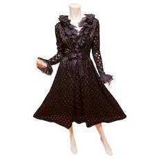 Haute Couture ModeSalon Marie Roitzheim black organza silk rayon eve ruffle dress