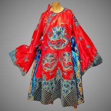 Chinese Embroidered Gold Dragon/Waves Ceremonial Kimono/Capelet silk content