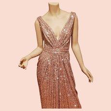Hollywood Golden Glitz sequin Gold Grecian draped maxi gown