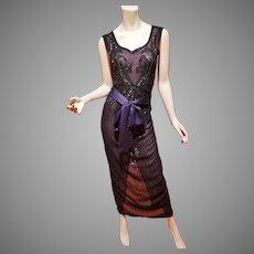 Layering Onyx beaded dress w/Sash belt