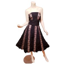 Estate French shirred strapless Paneled w/Chantilly lace Cocktail sweep dress