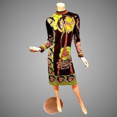 Paganne Vtg Floral printed wiggle dress vibrant colors
