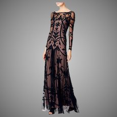 Vtg Temperley London Couture Archive Tattoo Embroidered & Applique on Tulle Maxi Dress