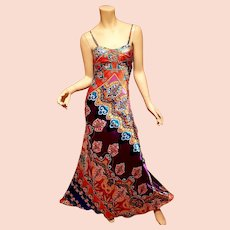 Cache' Paisley beaded maxi gown soft Satin small Train size -2