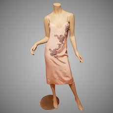 Ballet Pink Peau de Soie Boudoir slip dress with embroidered and beaded grey silver appliques