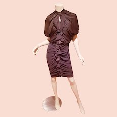 Givenchy Couture Cocoa Ruffled zip dress body con  $1500 K