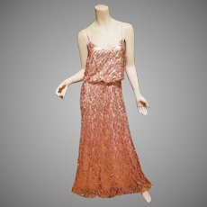 Rose Gold Tone Courtney Sequin  Hollywood Vamp gown