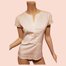 Theory short sleeves crisp cotton spandex shirt with details