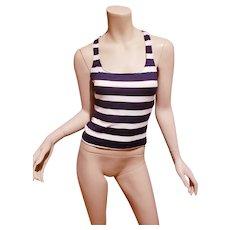 Vtg Ralph Lauren blue/white striped Sport stretch top size 10