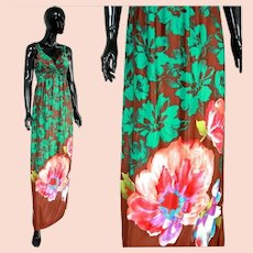 French Uzanel Paris Vtg 70's floral silky maxi dress made in France
