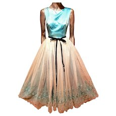 Formal Turquoise Tie Dye embroidered gown layer back details velour bow belt