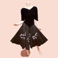 1940-50's full sweep skirt and blouse set Painted Bows velvet& taffeta strips Hollywood Film Wardrobe