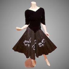 1940-50's full sweep skirt and blouse set Painted Bows velvet& taffeta strips Hollywood Film Wardrobe