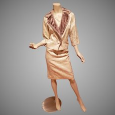 Carol Craig 1950's brocade Cocktail dress w/matching Jacket & faux Fur