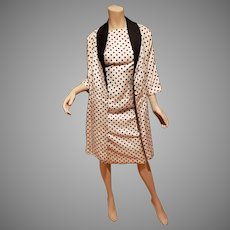 Lilli Diamond polka dot ensemble dress and long Jacket circa 1960's