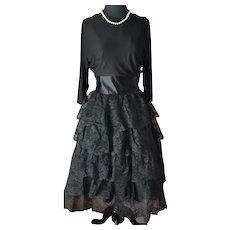 Lace 5 Tier ruffle 1950's Party dress full crinoline skirt sash wide midriff
