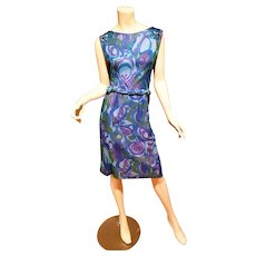 Lord & Taylor  50's Chiffon printed dress w/ cable belt