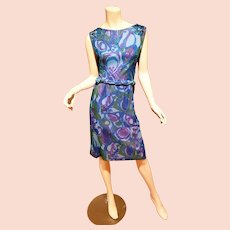 Lord & Taylor  50's Chiffon printed dress w/ cable belt