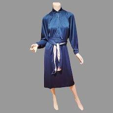 Vtg 1960's emerald green color block wiggle Poet dress sash belt Button front