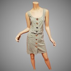 Vtg Juicy Couture Etudiante dress Metallic large button Zig Zag design pockets