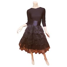 Chantilly laced Ruffled Party dress knit bodice sash satin belt covered buttons