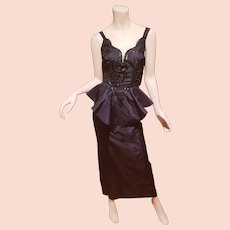 Formal Peplum  gown jet beaded bodice cross over back Shantung