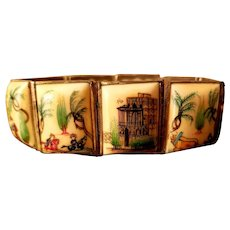 Hand painted Persian story teller silver framed panel bracelet 1940's