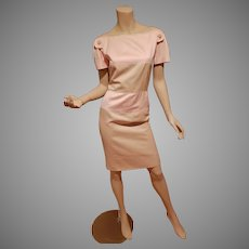 Valentino Boutique Ballet pink /Tan stripe Sheath dress