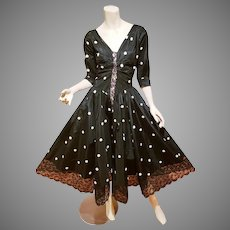 Vtg 1940's Tafetta Formal full sweep dress polka wool dots French lace Hem