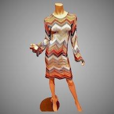 Vtg  Missoni silk Cravanelle Chevron knit dress Poet sleeve Italy -38
