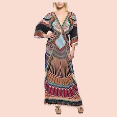 Ethnic Caftan dress Kimono Sleeves 1970s V neck maxi