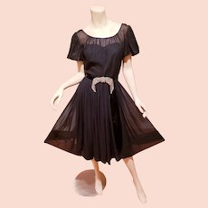R&K Original Chiffon full sweep dress Embellished belt Sweetheart& floral bodice Union Made