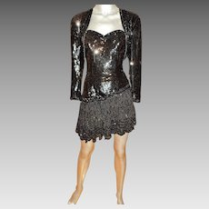 Vintage Strapless Fully Beaded Sequins Mini Cocktail Dress W/Bolero Jacket 100% Silk Shell