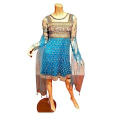 Ethnic Fully Beaded & Embroidered silk Indian dress with Shawl