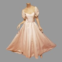 Amazing 1950's French Peau de Soie Wedding gown puffed sleeves with pearl tear danglers