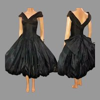 Vtg David Fielden England pure silk bubble hem & Tulle 1980 Couture Dress Spectacular