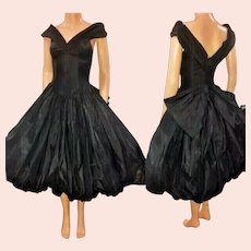 Vtg David Fielden England pure silk bubble hem & Tulle 1980 Couture Dress Spectacular