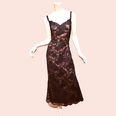 Vtg Victor Costa Couture Gown Illusion French Guipure Ribbon Lace