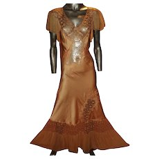 Vtg 1920 Silk Peau de Soie Bias Maxi Nightgown /Dress Tambour Hand Embroidered Lace Oppenheim Collins & Co