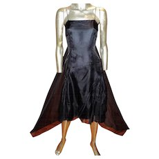 Vintage Morgane Le Fay Silk Organza Pleated Dress Back Wing Train Couture Finish