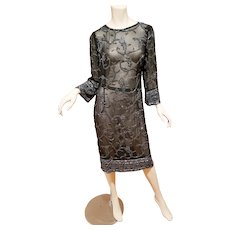 Vtg Layering fully beaded Flapper dress silk chiffon