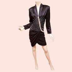 Vtg Vicky Tiel Paris Couture Silk dress Swarovski Crystals, for Saks 5th Avenue