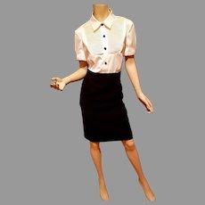 Vtg Color Block Bib wiggle dress black/white black button front