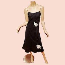 Vtg Satin Slip bias dress Guipure Applique'
