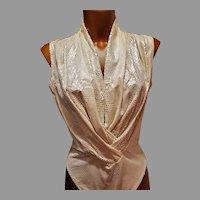 Vtg Dina Bar El Metallic Silver serpent Body Suit Circa 1980's
