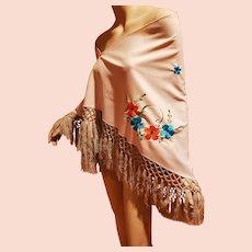 Vtg Floral Embroidered Large Shawl w/Fringes Slavic