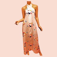 Sarong Hand Printed 1960's  4 ways dress wild flowers on crisp cotton